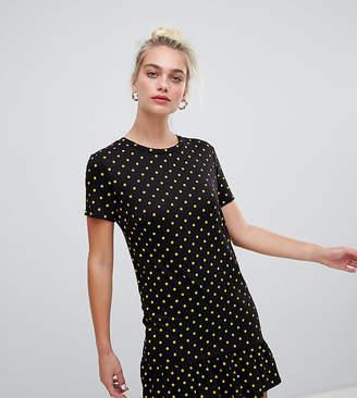 Daisy Street Tshirt Dress With Ruffle Hem In Polka Dot