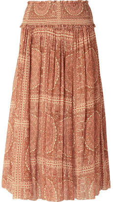 Zimmermann Primrose Printed Cotton And Silk-blend Plissé Skirt - Antique rose