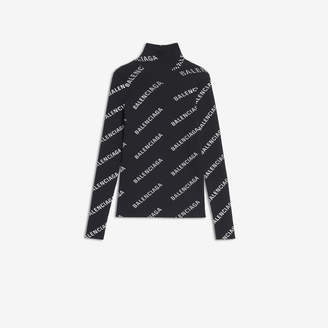Balenciaga Allover Logo Open Back Turtleneck in black and white printed technical ribbed knit