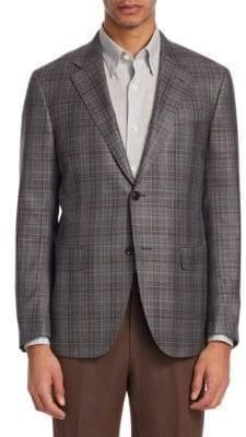 Ermenegildo Zegna Men's Milano Check Sport Jacket - Grey - Size 58 (48) R