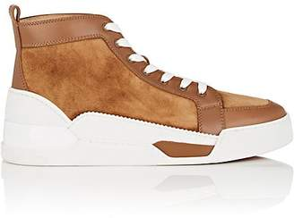 Christian Louboutin Men's Rankick Suede & Leather High-Top Sneakers