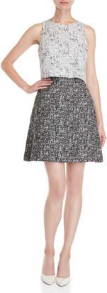 Carolina Herrera Black & White A-Line Wool Dress