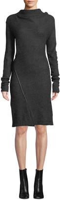 Helmut Lang Mohair-Blend High-Neck Long-Sleeve Dress