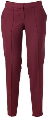 Atelier FG Burgundy Viscose Crepe Pants