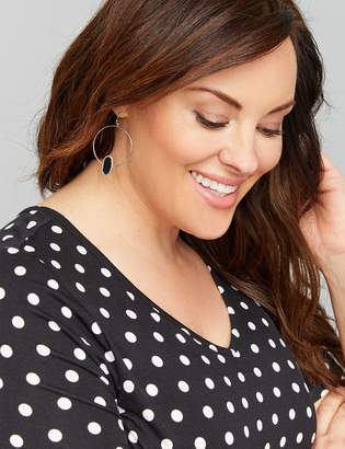 Lane Bryant Circle Drop Earrings with Oval Stone