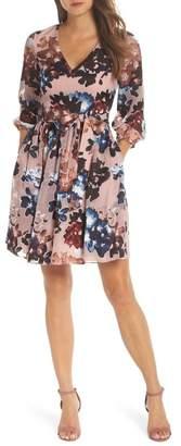 Vince Camuto Burnout Floral Fit & Flare Dress