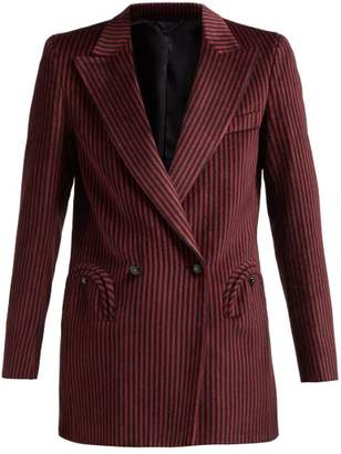 BLAZÉ MILANO Cool Feeling Double Breasted Striped Velvet Blazer - Womens - Burgundy Multi