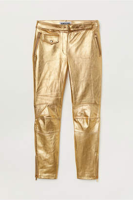 H&M Ankle-length Leather Pants - Gold