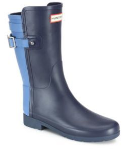 Hunter Original Refined Back-Strap Short Two-Tone Rubber Boots $185 thestylecure.com