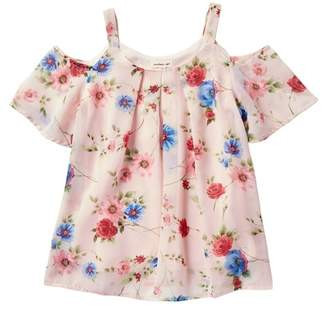 Couture Monteau Floral Cold Shoulder Box Pleat Top (Big Girls)