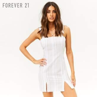 Forever 21 (フォーエバー 21) - Forever 21 マルチストライプスリットヘムタイトワンピース