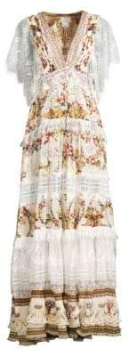 Camilla La Fleur Libertine Olympe Ode Button Up Floral & Lace A-Line Maxi Dress