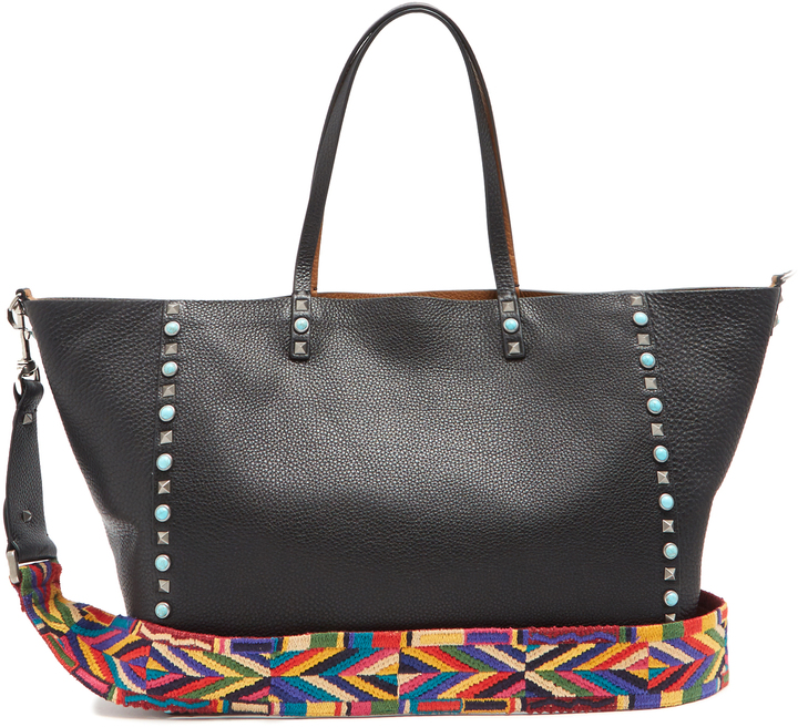 ValentinoVALENTINO Rockstud Rolling reversible grained-leather tote