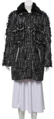 Jocelyn Bouclé Mink-Trimmed Coat
