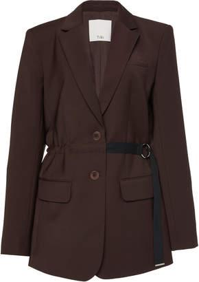 Tibi Tropical Belted Wool-Blend Blazer
