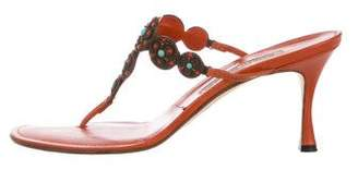 Manolo Blahnik Embellished Thong Sandals