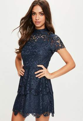 at Missguided · Missguided Navy short sleeve double layer skater dress
