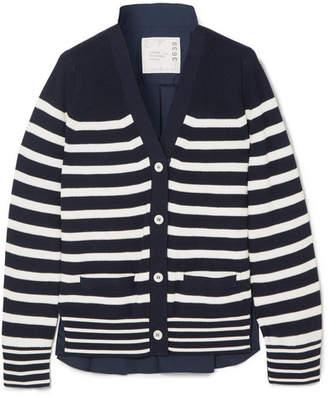 Sacai Striped Cotton And Poplin Cardigan - Navy