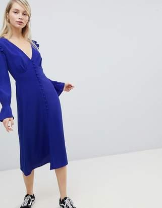 Wednesday's Girl Midi Tea Dress With Gathered Sleeves