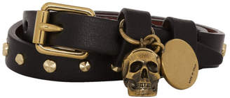 Alexander McQueen Black and Gold Wrap Stud Skull Bracelet