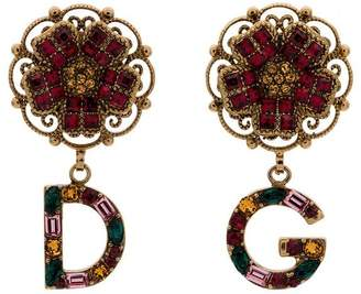 Dolce & Gabbana multicoloured branded charm flower drop earrings