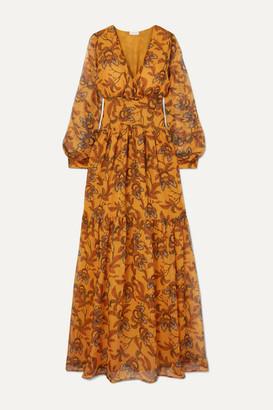 Eywasouls Malibu Lola Tiered Printed Chiffon Maxi Dress - Saffron