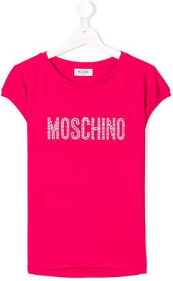 Moschino Kids rhinestone logo T-shirt