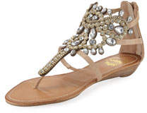 P-Araminta Embellished Wedge Sandals Neutral
