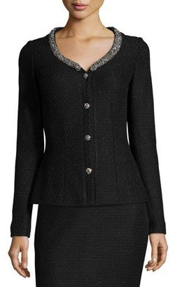 St. John Collection Shimmer Lattice-Knit Jacket, Caviar/Silver $2,095 thestylecure.com