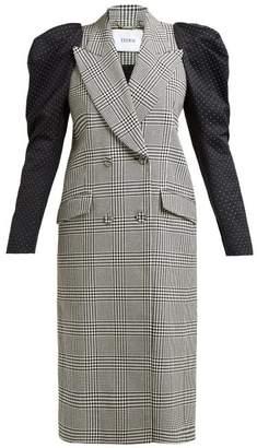 Erdem Albert Contrast Sleeve Checked Cotton Blend Coat - Womens - Black White