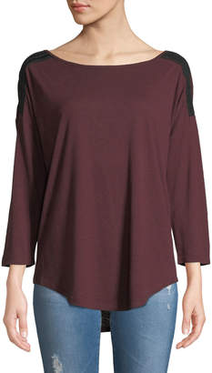 NYDJ 3/4-Sleeve Knit Tee w/Braided Shoulder Trim