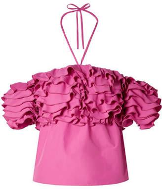 Rosie Assoulin Cha Cha Off-the-shoulder Ruffled Taffeta Top - Fuchsia