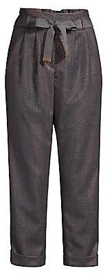 Peserico Women's Belted Sparkle Pinstripe Pants