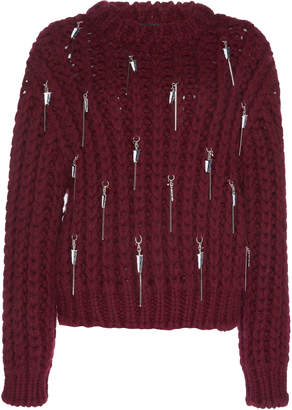 Calvin Klein Chunky Wool Waffle Knit Crew Neck Jumper With Charms