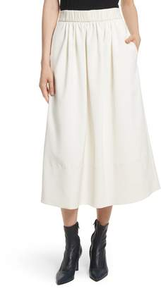 Tibi Stretch Faille Full Midi Skirt