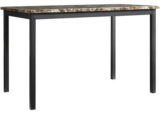 Weston Home Faux Marble Top Metal Dining Table, Black