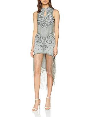 F&F Frock and Frill Women's Embellished Flapper Dress with Tassles Party (Pearl Blue Ff), (Size: )