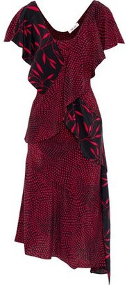 Diane von Furstenberg Layered Printed Silk Crepe De Chine Dress