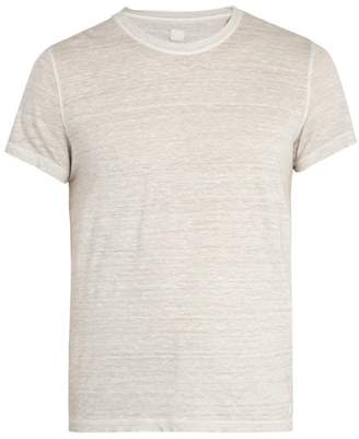 120% Lino Crew Neck Linen T Shirt - Mens - Grey