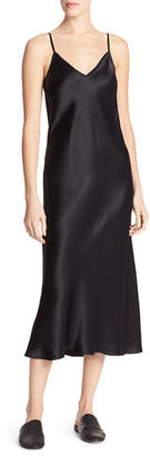 Vince Bias-Cut Satin V-Neck Midi-Length Slip Dress $275 thestylecure.com