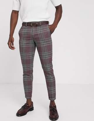 Jack and Jones super slim suit pants in wool check