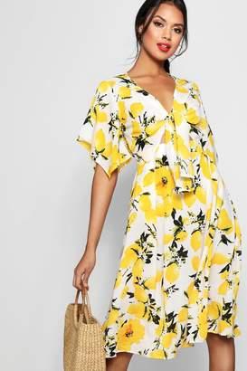 boohoo Knot Front Lemon Print Midi Dress
