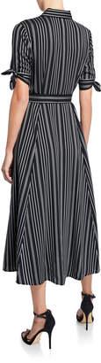 Iconic American Designer Striped Shirtdress w/ Self-Tie Waist
