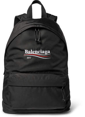 Balenciaga Explorer Embroidered Canvas Backpack - Black