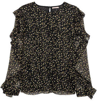 H&M H&M+ Blouse with Ruffle - Black