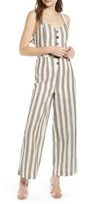 d2394350535 J.o.a. Stripe Cotton   Linen Jumpsuit