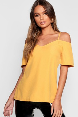 boohoo Woven Strappy Open Shoulder Top