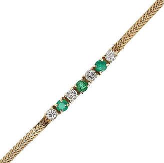 One Kings Lane Vintage Yellow Gold Diamond and Emerald Bracelet - Raymond Lee Jewelers