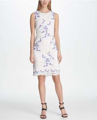 DKNY Floral Embroidered Lace Sheath Dress
