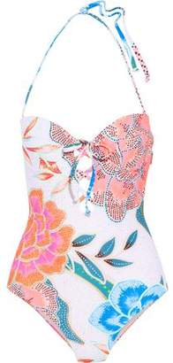 Mara Hoffman Lace-Up Printed Underwired Bandeau Swimsuit